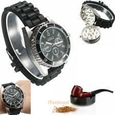 Metal Alloy Wrist Watch Spice MullerTobacco Grinder Cigarette Herb Crusher Black