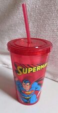 DC Comics  Superman Comic Pop Plastic Cold Cup with Lid and Straw, 16 oz,