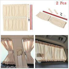 2pc 70cm Car SUV Window Windscreen UV SunShade Drape Visor Valance Curtain Beige