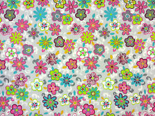 JUNGLE FLOWER JERSEY FABRIC GREY A44 BRIGHT FLOWERS DRESSMAKING & CRAFT