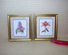 Miniature Pictures Lilac/Lily Prints/Gold Frames (2) for DOLLHOUSE 1/12 Scale