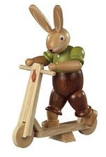 Mueller - Traditional German Easter Wooden Figurine - Bunny Riding Scooter