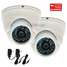 "2x Wide Angle Dome Security Camera Day Night Vision Outdoor w/ 1/3"" SONY CCD wj8"