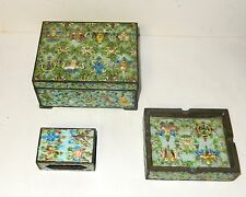 RARE OLD CHINESE REPOUSSE CLOISONNE ENAMEL HUMIDOR TRAY MATCH BOX SET