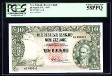 New Zealand 10 Pounds ND 1967 P.161d PCGS 58 PPQ Ch. AU Rare Note Last Prefix AS