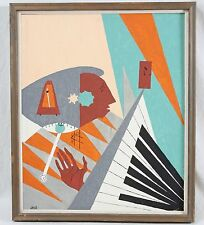 1963 Signed 20x24 Abstract Surrealism Musician Piano Hand Time Vintage 1960's