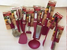 Pink Sangria KitchenAid Set 9 Pieces Can Opener Pizza Wheel Tongs New