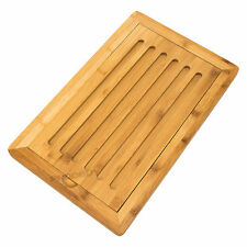 Bamboo Wooden Bread Cutting Board Crumb Catcher Tray Food Chopping Slicer Mat