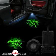 2x Car Door Green Horse Logo LED Laser Projector Shadow Light For Ford Mustang