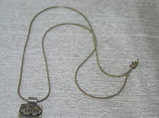 Estate Sterling Silver Snake Chain w DREAM in Cloud Rectangle Pendant