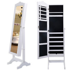 White Jewelry Mirror Armoire Stand W/Tilt Cabinet Storage Box Ring Organizer