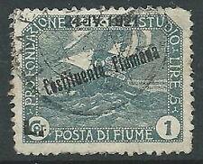 1921 FIUME USATO COSTITUENTE FIUMANA 1 LIRA - F5