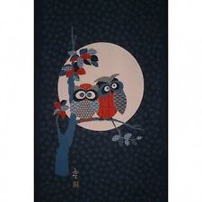 Noren Japanese Owl In The Moonlight Cotton Quilting Panel Fabric - 50cm x 112cm