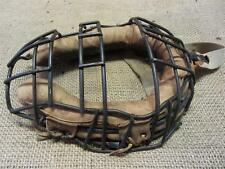 Vintage Metal Wire & Leather Baseball Catchers Mask   Antique Old Ball 8219