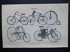 Meyers Lexikon Original Lithografie 1896 Rare Fahrrader / Bicycles