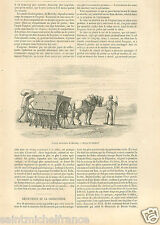 Seed drill Agriculture Semoir Mécanique Hornsby England GRAVURE OLD PRINT 1859