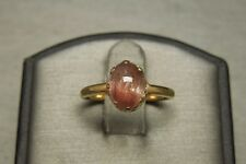 Antique Victorian Estate C1900 14K Gold 2ct Cabochon Cats Eye Tourmaline Ring