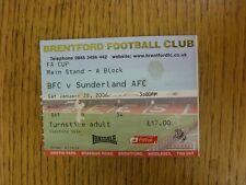 28/01/2006 Ticket: Brentford v Sunderland [FA Cup] (folded, slight mark). Unless