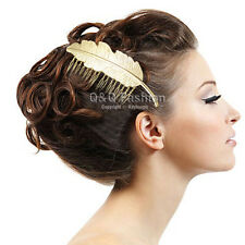 Festival Bridal Gold Big Leaf Feather Hair Pin Clip Dress Snap Barrette Comb