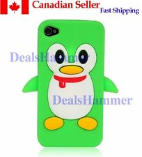 3D Cute Penguin Silicone Rubber Skin Case Cover for Apple iPhone 4 4S 4G Green