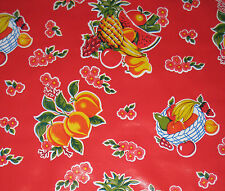 1 Yard Cane Red Oilcloth Material Fabric Kitchen Picnic Table BBQ Craft Project
