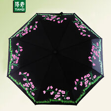 Compact Windproof Anti UV Rain Sun Foldable Umbrella Floral Change Color In Rain