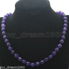 """Handmade Jewelry 8MM Faceted Purple Jade Round Gems Beaded Necklace 18"""""""