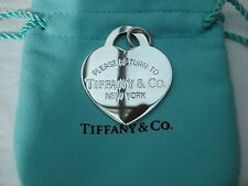 Return to Tiffany & Co New York Silver X Large Heart Tag Pendant Charm with pouc