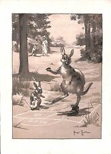 Childrens print.kangaroo.hop scotch.rabbit.duckling.game.1930.h. rountree.old