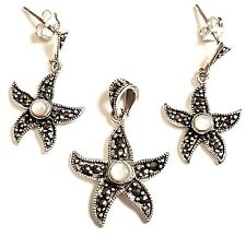 Mother-of-Pearl Starfish EARRINGS & PENDANT COMBO SET Marcasite Sterling Silver