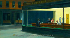 """Nighthawks"", Edward Hopper, Reproduction in Oil, 24""x13"""
