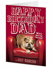 Happy Birthday DAD funny grumpy English bulldog dog on red chair greeting card