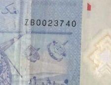ZB0023740  Zeti $1 polymer  banknote  very scare ! ZB 2 zero's !
