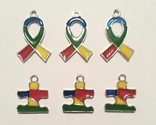 24 Enamel Jewelry Charms Puzzle Ribbon Autism Awareness Craft  Fundraiser Event