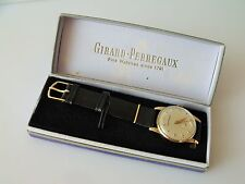 GENT'S VINTAGE .375 9CT GOLD GIRARD PERREGAUX WRIST WATCH + BOX & CERTIFICATES