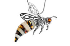 Sterling Silver Cognac & Milky Amber Bee Wasp Pendant Necklace Jewellery +Chain