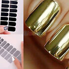 16pcs Foil Nail Art Sticker Gel Nail Patch Manicure Set Golden Black B52U