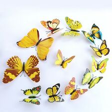 UK Yellow PVC 3D Butterfly DIY Wall Stickers Art Decal Home Decorations Decor F7
