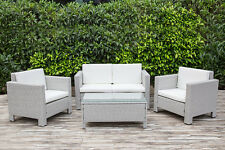 Five Piece Grey Rattan Garden Furniture Set Sofa Table Chairs Patio Conservatory