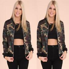 Women Stand Collar Long Sleeve Zipper Camouflage Printed Bomber Jacket Coat M