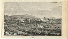 Stampa antica ESTE veduta panoramica Padova Veneto 1897 Old antique print
