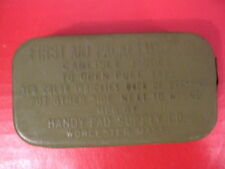 WWII US Army Carlisle Bandage in Green Tin M1924 & M1942 First Aid Pouch - MINT