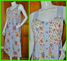 Vtg 80s FLORAL GARDEN Print Rayon Patchwork Country BOHO PINAFORE Jumper DRESS
