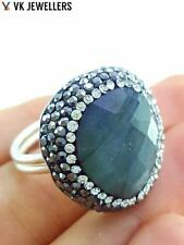 Turkish Handmade 925 Sterling Silver Jewelry Natural Labradorite Druzy Ring C60