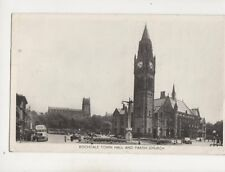 Rochdale Town Hall & Parish Church 1960 RP Postcard Edwards Lancashire 380b