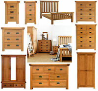 Chunky Solid Oak Bedroom Furniture Set Wardrobe Drawers Bedside Bed Table