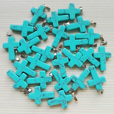 Wholesale 50pcs/lot Turquoise Cross Stone Pendant Charms silver p Pendants stone