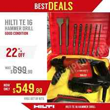 HILTI TE 16 HAMMER DRILL, GOOD CONDITION, FREE BITS AND CHISELS, FAST SHIPPING