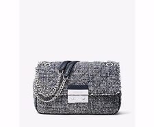 NWT MICHAEL Michael Kors Blue Sloan Large Tweed Shoulder Bag Purse New