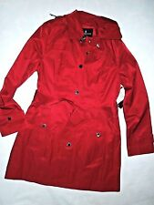 LONDON FOG  womens Chili Red trench dress COAT  with removable hood  SMALL